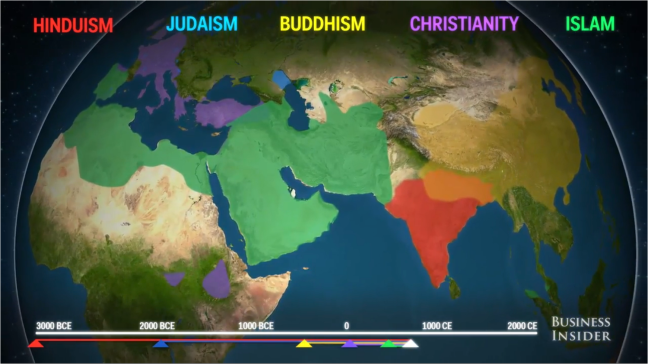 Mapping source places and the roots of religion sowing the seed business insider recently shared a thought provoking video on the spread of religion around the world producer alex kuzoian used a spinning globe to map gumiabroncs Gallery