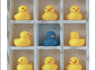 The cover of Fabricating Identities, edited by Russell T. McCutcheon. It shows a shelf with 11 yellow rubber ducks and one blue rubber duck.