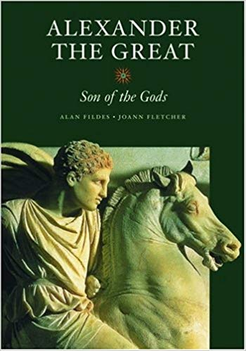 Image of Alexander the Great on a horse in marble. IT's the book cover of Alan Fildes' and Joann Fletcher's Alexander the Great: Son of the Gods.