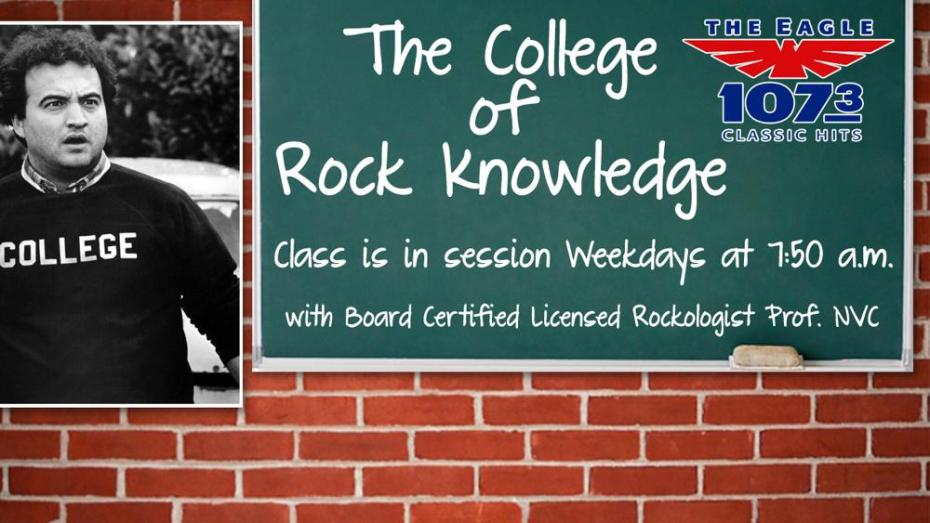 "The College of Rock Knowledge: Class is in session Weekdays at 7:50 am with Board Certified Licensed Rockologist Prof. NVC. From The Eagle, 107:3 Classic Hits. There's an image of a man wearing a generic sweater that says ""College"" and he has a dumbfounded look on his face."