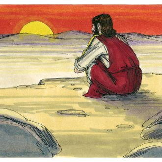 Jesus with his back turned toward us. He's in the desert looking off into the horizon as the sun sets in the mountains..