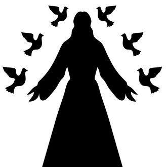 A silhouette of Jesus (presumably) surrounded by six doves, three on each side of him.