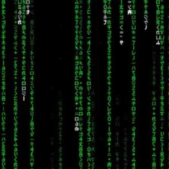 Green computer code descending down a screen. Image is taken from the film, The Matrix.