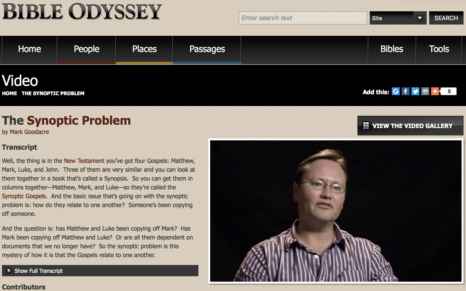 "Front page of the website, ""Bible Odyssey,"" with a discussion of The Synoptic Problem as explained by Mark Goodacre. A video and transcript can be found at the linked site."