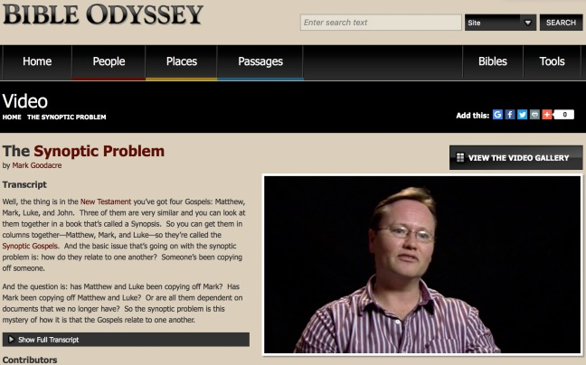 """Front page of the website, """"Bible Odyssey,"""" with a discussion of The Synoptic Problem as explained by Mark Goodacre. A video and transcript can be found at the linked site."""