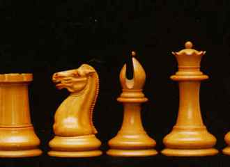 More details Original Staunton chess pieces, left to right: pawn, rook, knight, bishop, queen, and king