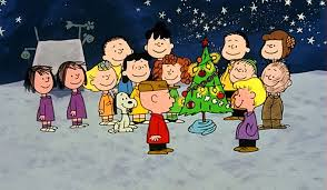 The Peanuts Gang (From the Charles Schulz Cartoon) Surrounding a Christmas Tree. A clip from Merry Christmas, Charlie Brown.