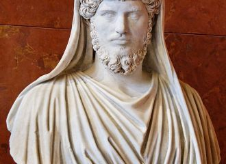 Portrait of Marble Statue of Lucius Verus as Frater Arvalis; head and torso.