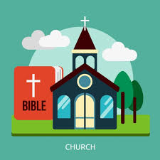 A cartoon picture of a church next to a giant Bible before a setting of clouds, trees, sky, and grass.