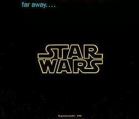"An image with ""A Long time ago in a galaxy far, far away, with Star Wars underneath, and the beginning of the opening crawl for Episode IV A New Hope."