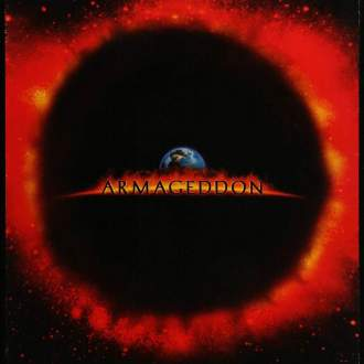 "Film poster for ""Armageddon"" the title is written across the center with an earth in the background. The background of the image is an eclipsed sun with bursts all around. ""Heads Up"" is written at the bottom as a tagline and the date ""7.1.98"" is written on it."