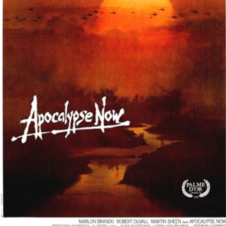 "The movie poster for Apocalypse Now, A sun is setting on a river. Helicopters are in the air across the sky. The words ""Apocalypse Now"" are handwritten. The Palme D'Or is in the bottom right corner."