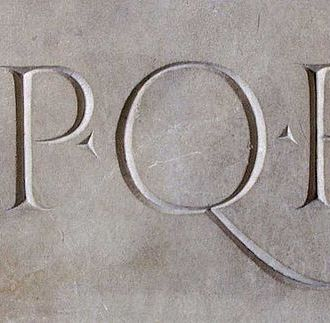 "SPQR- Latin: Senātus Populusque Rōmānus, ""The Roman Senate and People"", or more freely as ""The Senate and People of Rome."" Associated often with the Semper Fidelis tatoo (always faithful) of the US Marines"