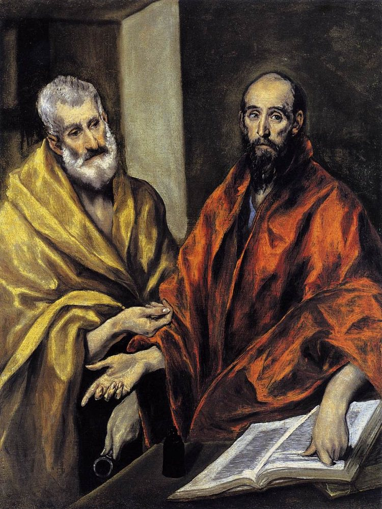 A bald St. Paul (right) is pointing to the text and St. Peter (left) is holding a key. Peter and Paul's other hands are parallel with each other.