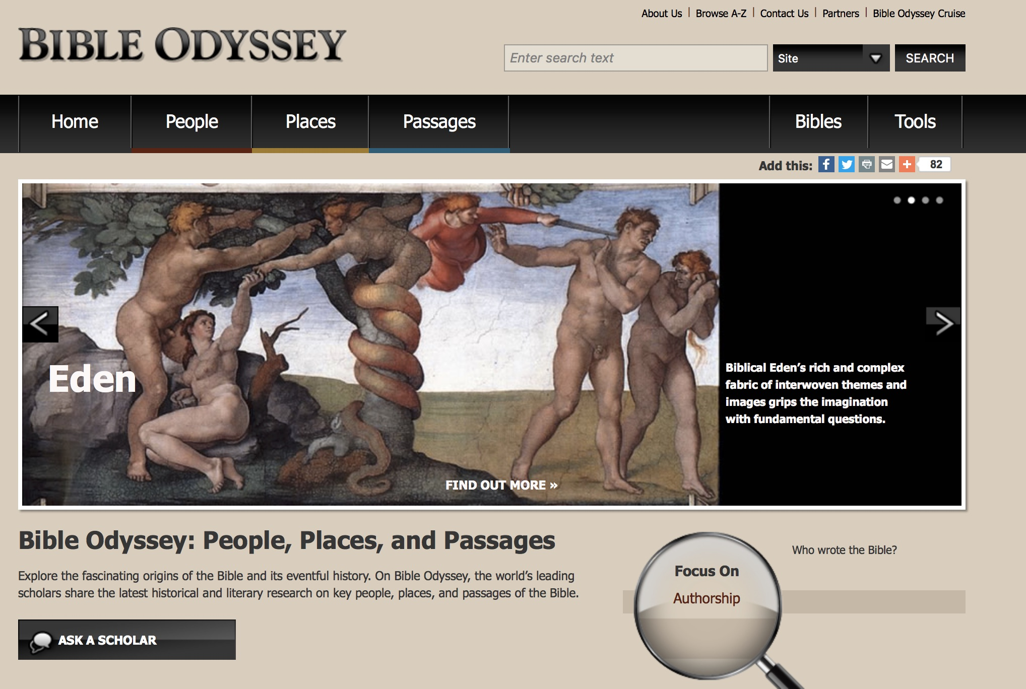 The front page of the website, Bible Odyssey