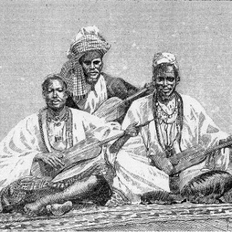 Three griots, West African Story tellers --Griots of Sambala, king of Médina (Fula people, Mali), 1890