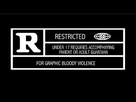 "An MPAA movie rating: ""R""- Restricted, for graphic bloody violence. Under 17 requires accompanying parent or adult guardian"