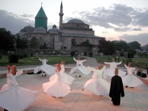 Whirling dervishes at Mausoleum of Mevlana, Konya, Turkey.