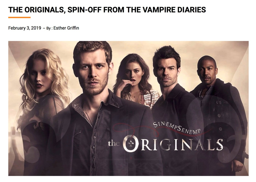"An advertisement for a show called ""The Originals"" featuring two women and three men. There is a headline that says ""The Originals, a spin-off from The Vampire Diaries."""
