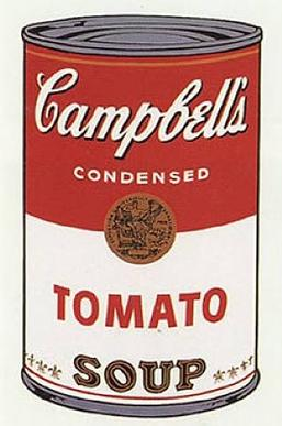 An illustration of a can of Cambpell's Condensed Tomato Soup.