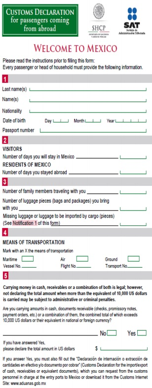 """Customs Declaration for passengers coming from Abroad"" form from Mexico."