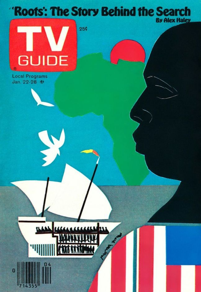 "TV Guide Cover featuring ""'Roots': The Story Behind the Search' by Alex Haley."""