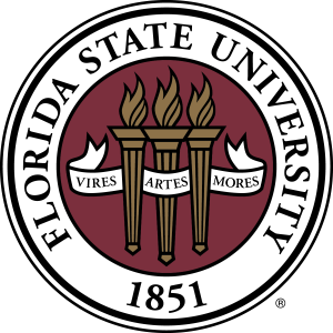 "Florida State University Logo. Three torches with the Latin phrase, ""Vires, Artes, Mores,"" and the year, 1851."