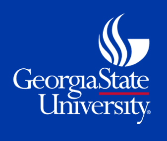 Georgia State University Logo. A white torch on a blue background.