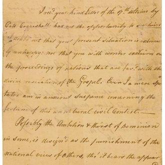 A Letter Handwritten by Phyllis Wheatley
